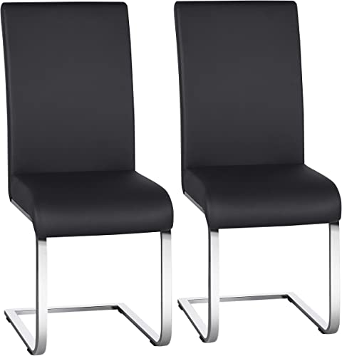 Yaheetech 2PCS Dining Chairs Modern PU Leather Chairs Upholstered Seat and Metal Legs Side Chairs