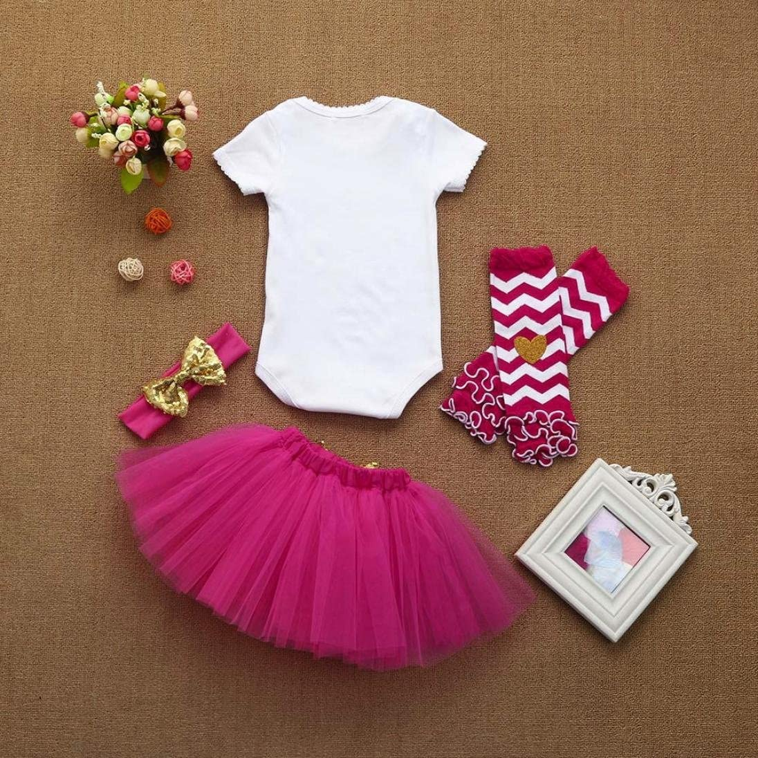 FORESTIME Baby Girls Cute Princess Birthday Party Letter Pomper Tutu Chiffon Skirt Headband Set