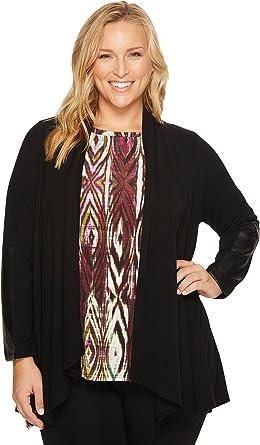 7b07b6cd67eab Karen Kane Plus Women s Plus Size Faux Leather Patch Sweater Jacket Black  Jacket