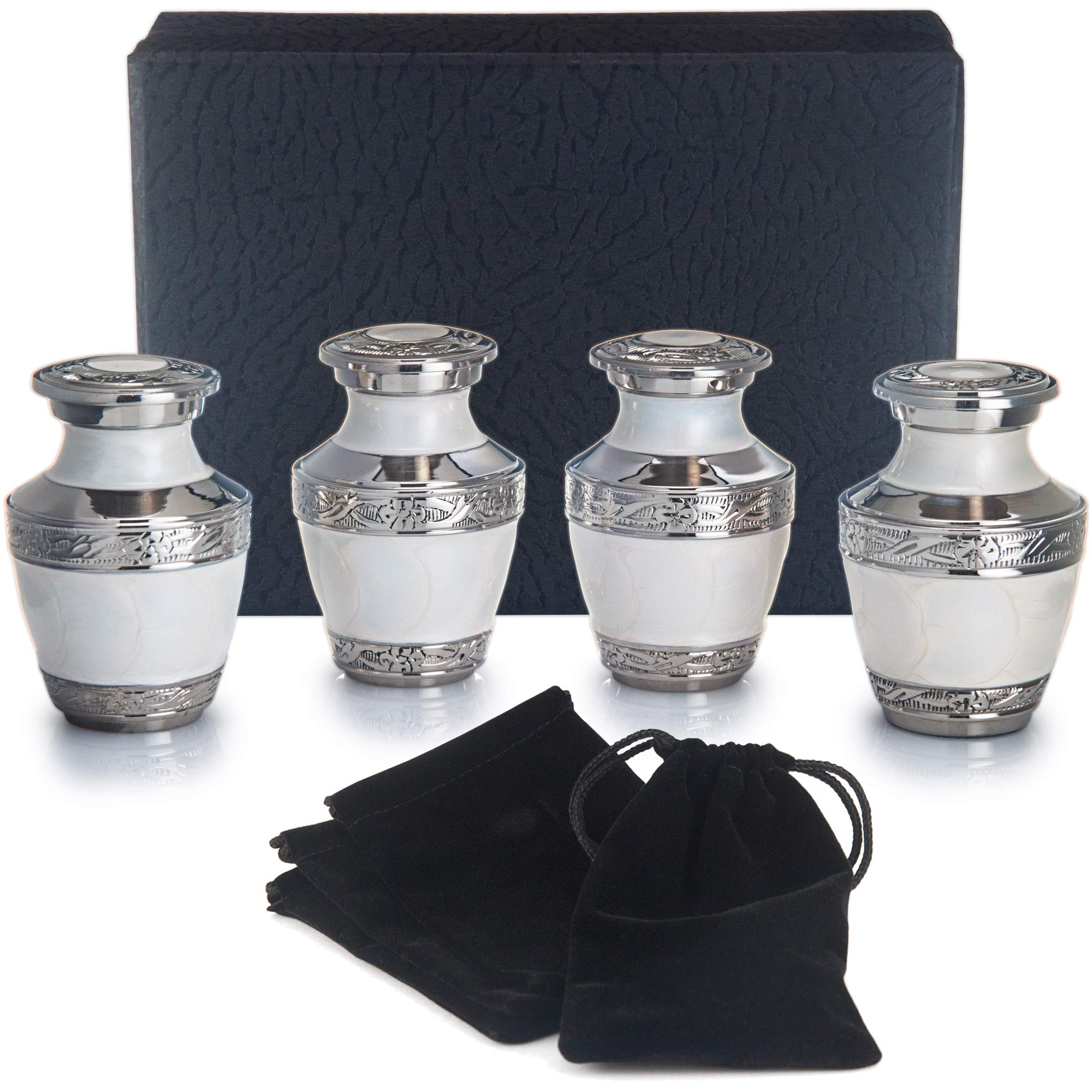 Adera Dreams Small Urns for Human Ashes Keepsake - Set of 4 in Pearl White - Mini Cremation Urns - Memorial Ashes Urn with Case, Velvet Pouch and Funnel - Miniature Burial Funeral Urns for Sharing Ash by Adera Dreams