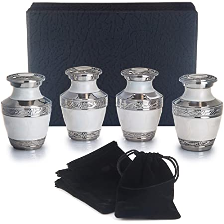 Adera Dreams Urns for Human Ashes Mini Urns – Pearl White Small Cremation Urns – Set of 4 Personal Keepsake Urns – Miniature Memorial Funeral Sharing Urns – Premium Case and Velvet Carrying Pouches