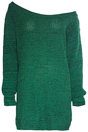 5b079b20852457 Womens Ladies Off The Shoulder Chunky Knit Oversized Tunic Sweater Jumper  Dress S M (
