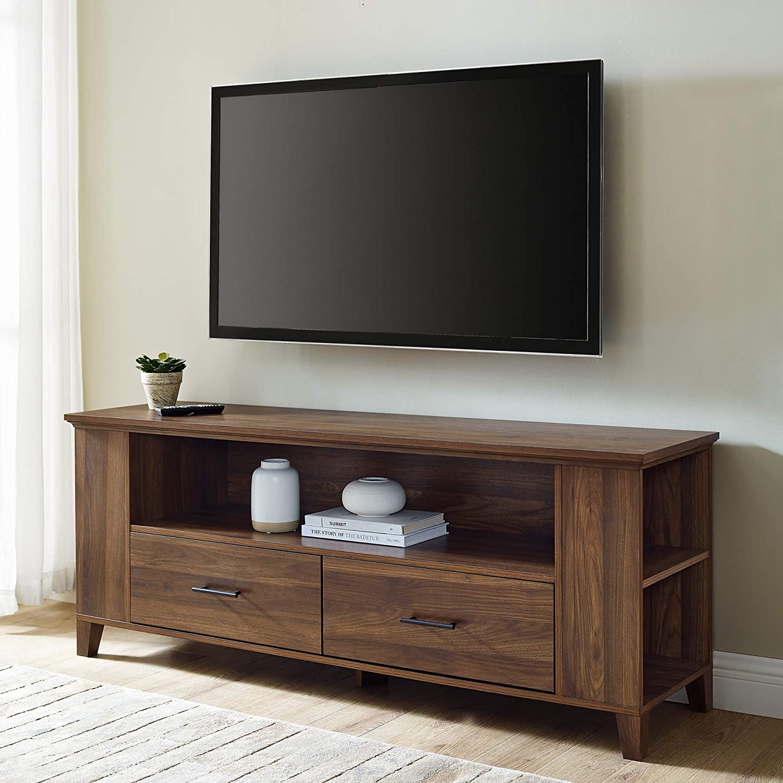 Walker Edison Furniture Company Entertainment TV Stand Console with Storage, 59 Inch, Dark Walnut