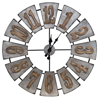 Everly Hart Collection Oversized Metal and Wood Windmill Wall Clocks, Silver