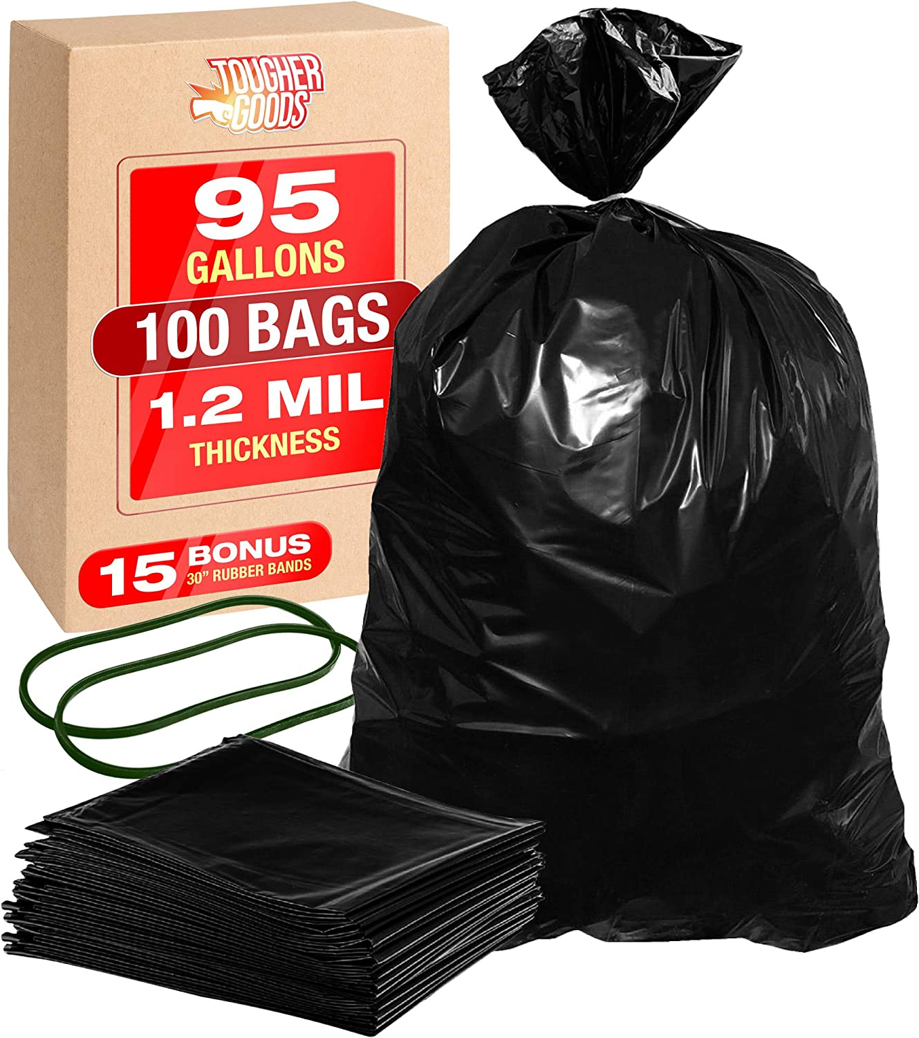 "100Pk Heavy Duty Black Trash Bags – 95 Gallon Garbage Can Liner for Garbage, Storage, Yard Waste, Construction and Commercial Use - 1.2 Mil Thick 61 x 68 with 30"" Rubber Bands by Tougher Goods"