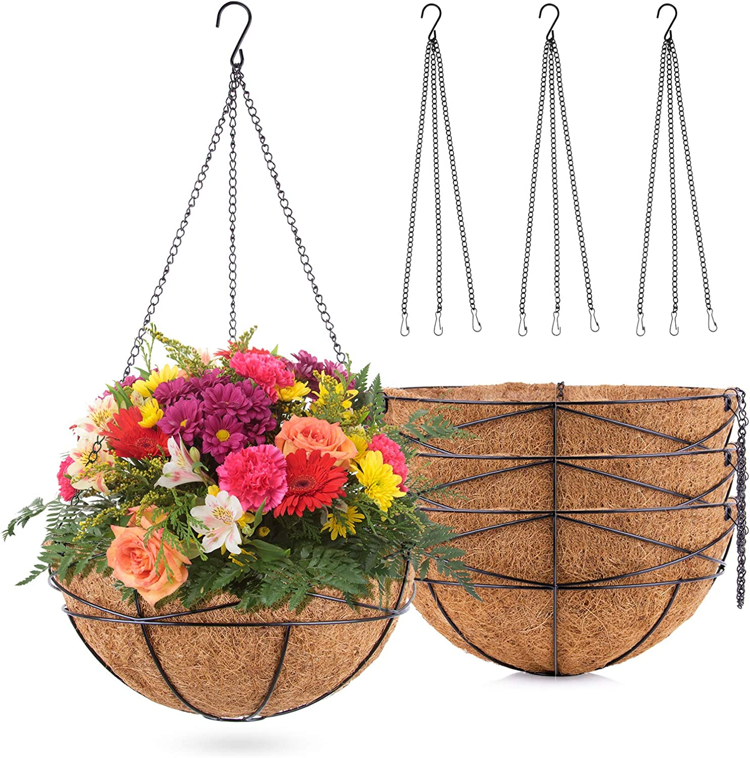 UERMEI 4 Pack Hanging Baskets for Plants - 12INCH Hanging Planters with Natural Coconut Liner   Plants Friendly Hanging Baskets Outdoor for Garden Decor   Housewarming Gift