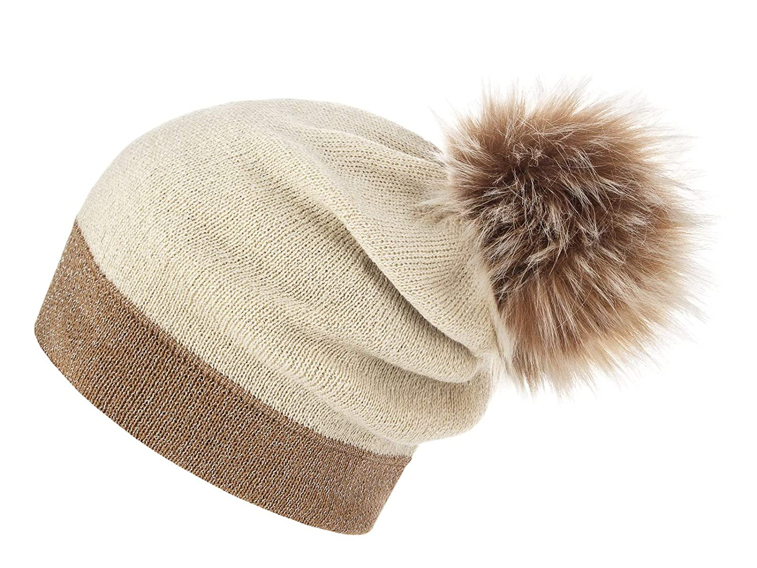 Beige Ecru Brown with White Futrzane Women's Slouchy Beanie Hat with a Faux Fur Pom Pom