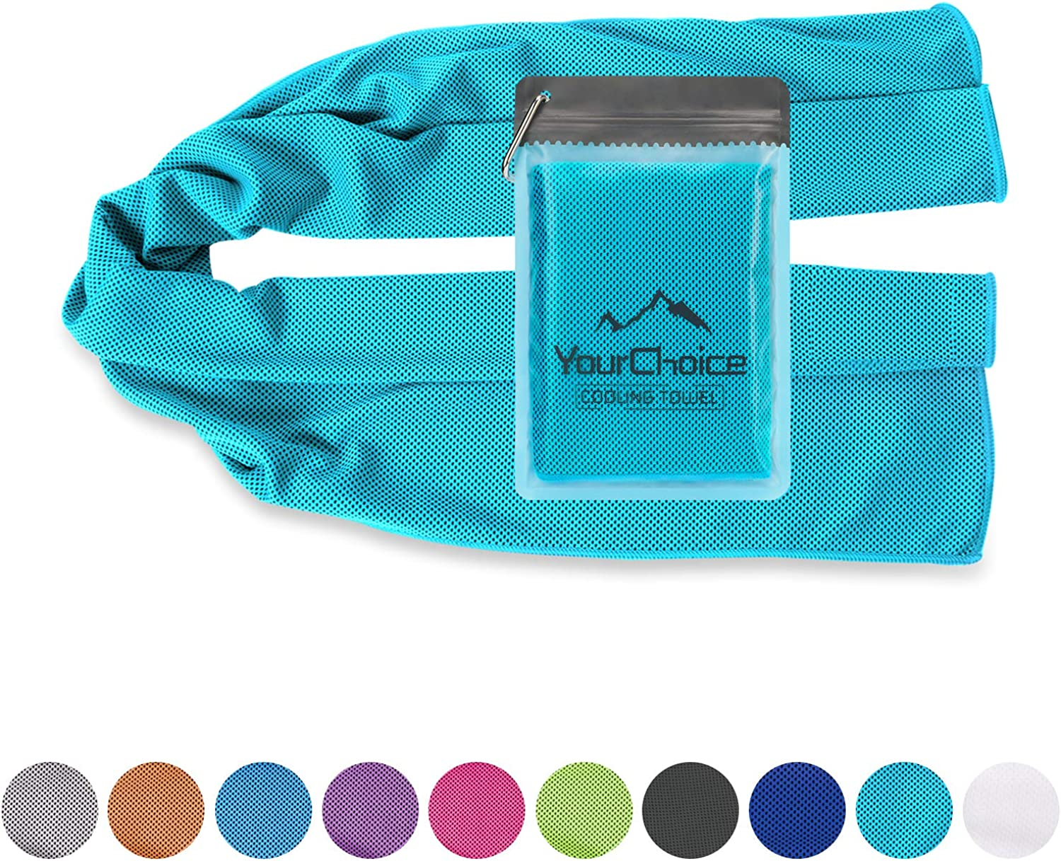 Cooling Towel, Cooling Neck Bandanas, Chill Towels Snap Cool Towel for Gym Golf Sports in Hot Summer, Turquoise 12 x 40 Inch : Sports & Outdoors