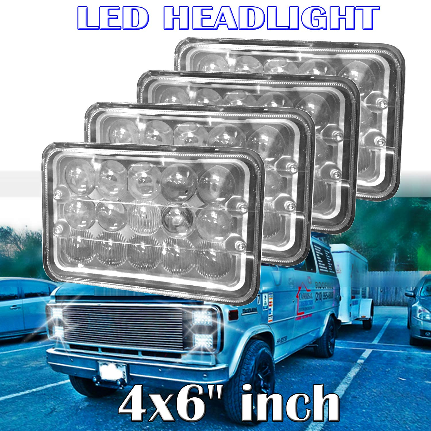 4x6 Led Headlights For Chevrolet Chevy C4500 C5500 2003 Wiring System Kodiak Rectangular High Low Sealed Beam Bright Lights To Replace H4651 H4652 H4656 H4666