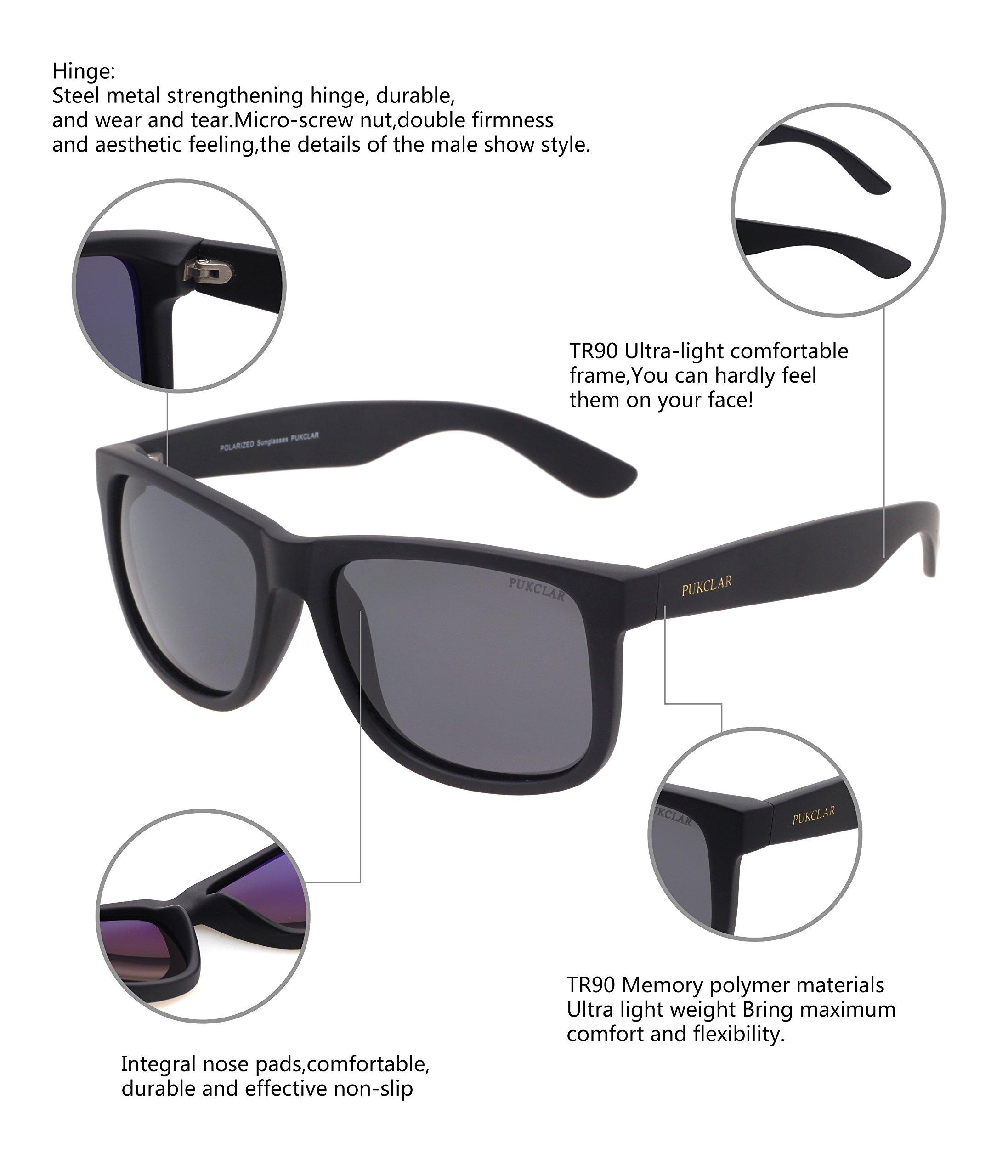 PUKCLAR Retro Polarized Wayfarer Sunglasses Classic UV400 Protection Sunglasses for Men Women Ultra Light pk1004