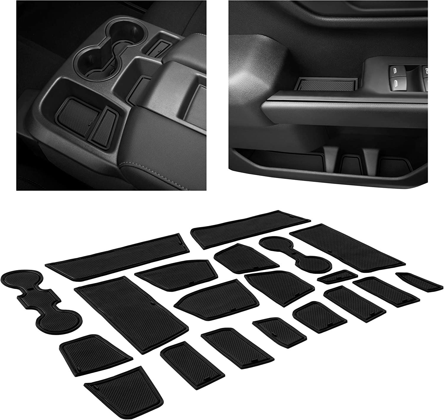 CupHolderHero for Chevy Silverado 1500 and GMC Sierra Accessories 2019-2021 Interior Cup Holder Inserts Gray Trim Center Console Liner Mats Crew Cab with Bucket Seats Door Pocket 24-pc Set