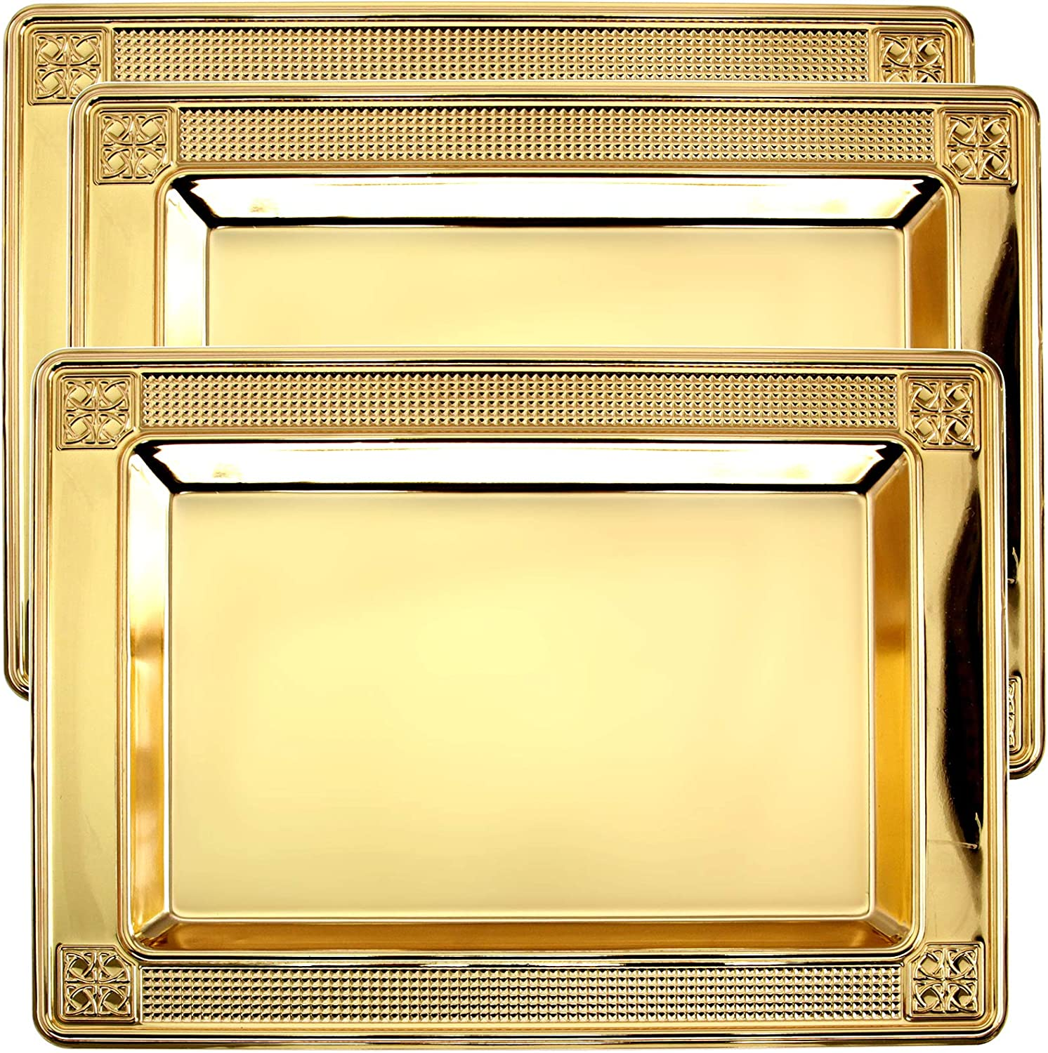 Maro Megastore (Pack of 3 13.9 Inch x 10 Inch Rectangular Iron Gold Plated Serving Tray Floral Edge Decorative Party Birthday Wedding Dessert Buffet Wine Candle Decor Platter Plate Base Dish CC-551