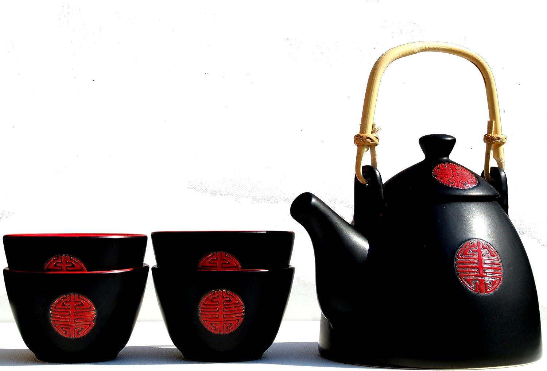 700ml 'Hidchi' negro y rojo tetera y cuatro tazas