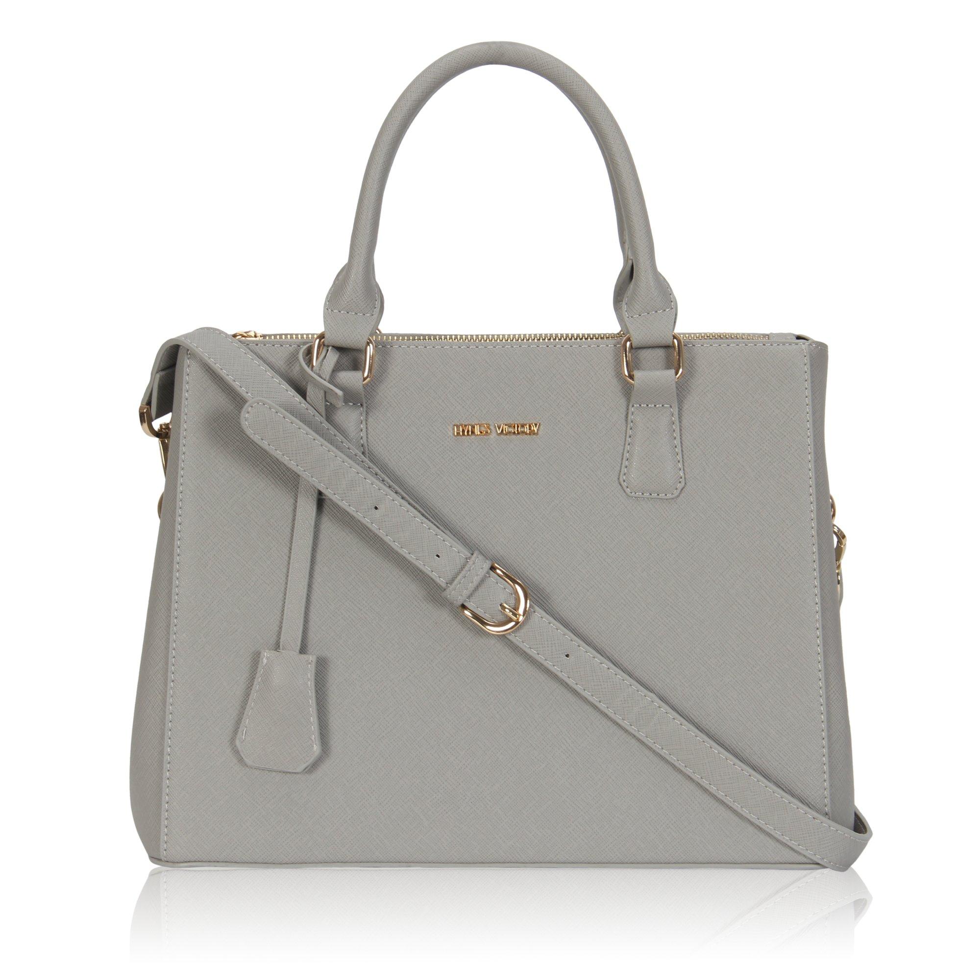 Hynes Victory Womens Classy Satchel Handbag Grey