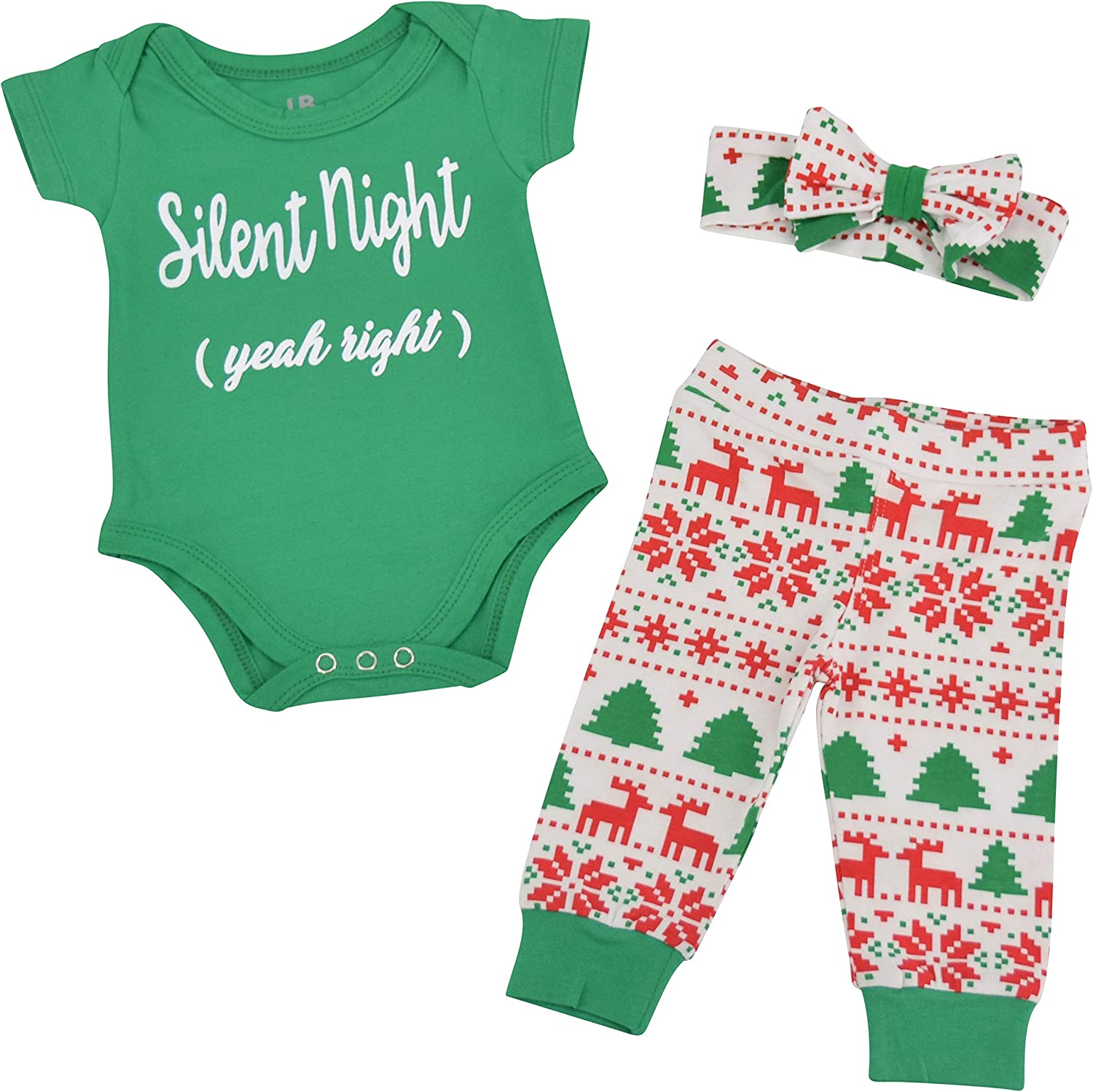 Unique Baby Girls Silent Night Christmas Layette Set with Headband