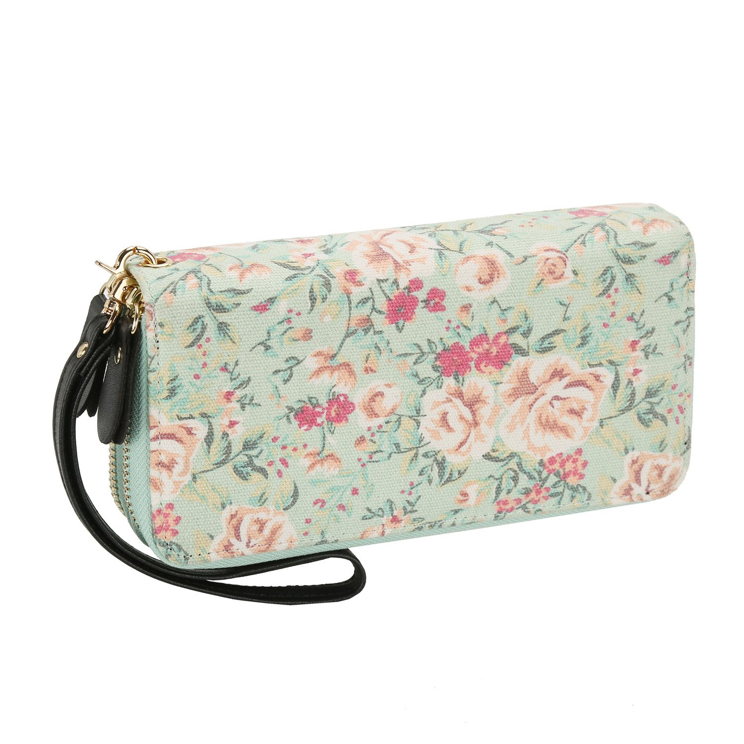 Women Floral Wallet Zipper Canvas Purse Long Clutch Bag Flower with Coin Pocket and Strap (Large, Blossoms Green)