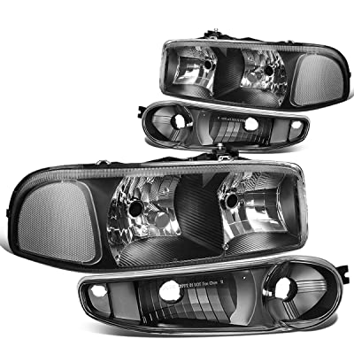 DNA Motoring HL-OH-DAN994P-BK-CL1 4Pcs of Headlights+Bumper Lamp[02-06 GMC Sierra/Yukon],Black clear: Automotive