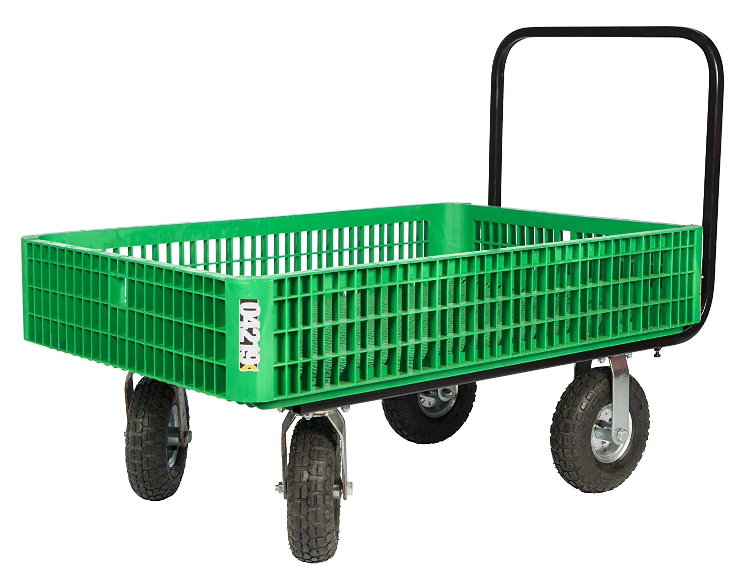 Farm Tuff 30-Inch by 46-Inch Crate Wagon with 4-Inch by 10-Inch Tires, Green or Grey Millside Industries Inc 04219