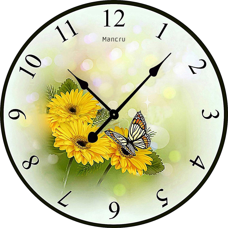 Mancru 1CM d épaisseur Horloge Murale Ronde Grande Taille en Style Vintage  muet Horloge Murale 9-60cm de diamètre  Amazon.fr  Cuisine   Maison 0a1e975e1b19