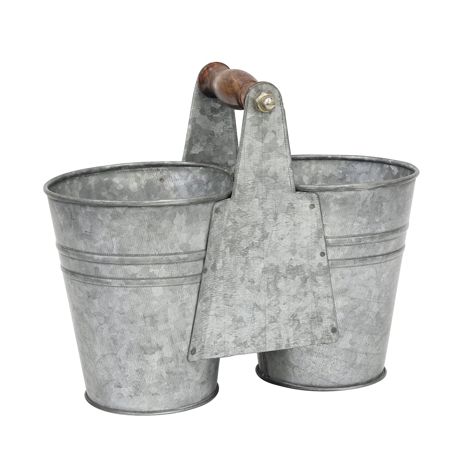 Stonebriar Conservatory Antique Galvanized Double Bucket with Wood Handle Silver