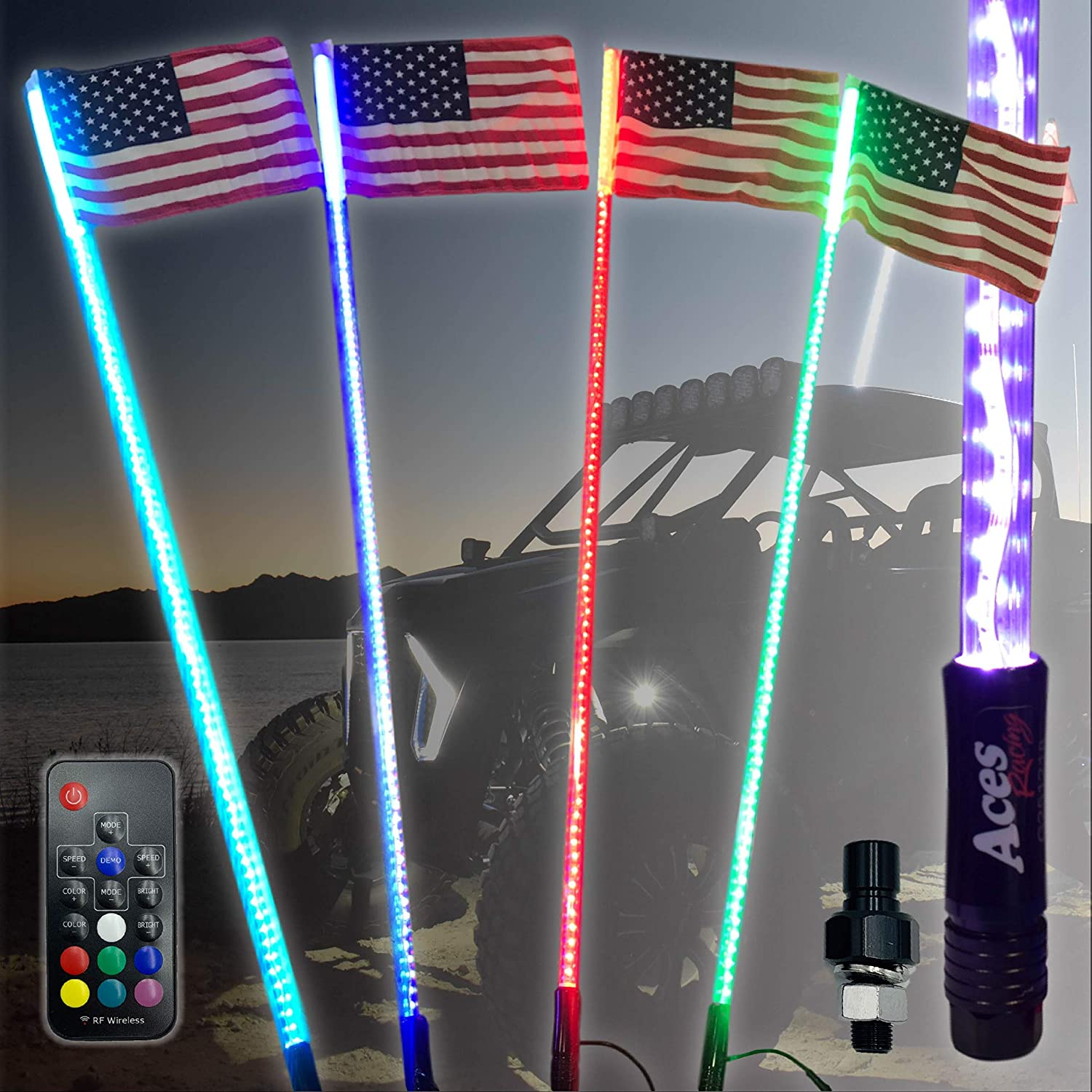 5ft 20 Color 200 Combo LED Lighted Whip-ATV-UTV-RZR-YXZ-CanAm-X3-Buggy-OffRoad