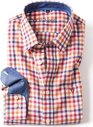 VEDONEIRE para hombre camisa de algodón (2285 Anvik) a cuadros rojo anaranjado: Amazon.es: Ropa y accesorios