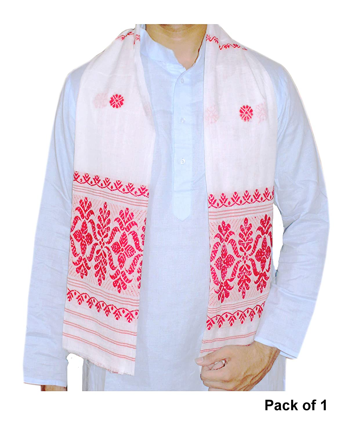 "Epic Store, Assamese 100% Premium Cottony Soft gamosa, Full Embroidery Work,55"" * 25"" Red and White 1 Piece gamosa"