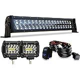 "TURBO SII 22"" LED Light Bar 5D 120W Flood Spot Combo Beam LED Bar + 4"" 60W Off Road Driving Fog Lights with W/Rocker Switch W"