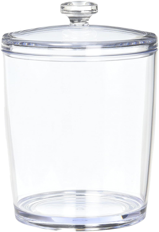 bocal en plastique solide et couvercle mDesign distributeur de boules de coton transparent lot de 2 id/éal pour les produits cosm/étiques boite de rangement pour coton-tige