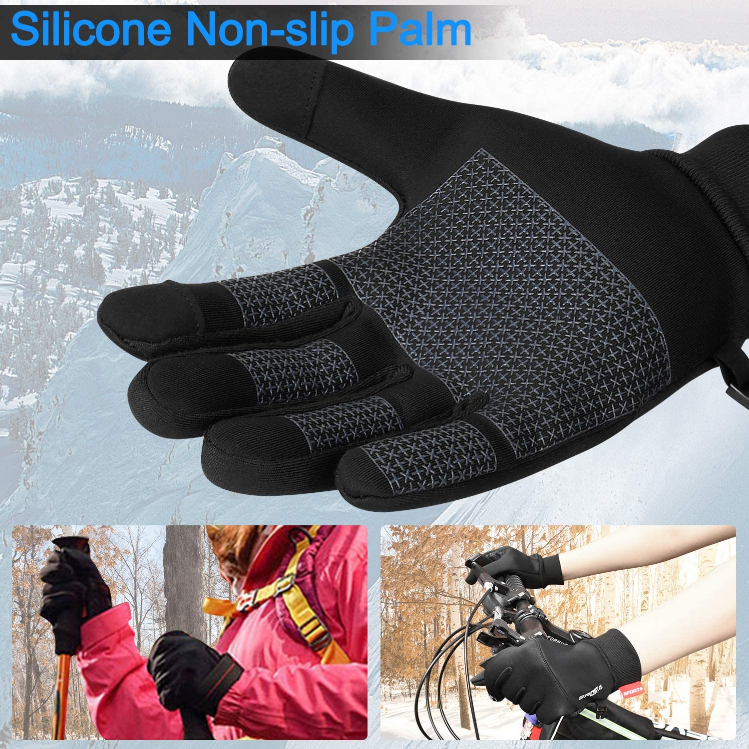 Keaplayee Winter Gloves Men Women Touch Screen Cold Weather Gloves for Cycling
