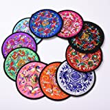 """Coasters for Drinks,Vintage Ethnic Floral Design Coaster, Cup Pad ,10 pcs/Set ,5.12""""/13cm Round (Mixed Colours)"""