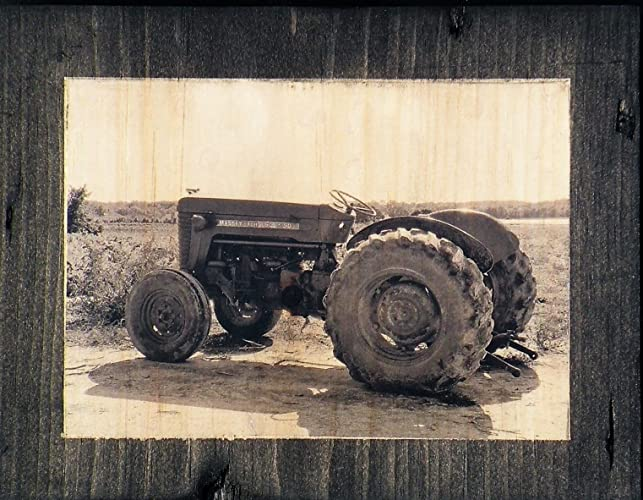 Antique tractor black and white wood photo vintage farm equipment photo old farm tractor