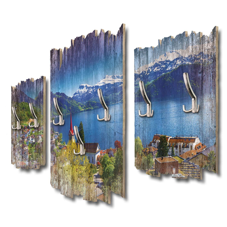 Kreative Feder Vierwaldstättersee Schweiz Designer Wandgarderobe Flurgarderobe Wandpaneele 95 x 60 cm aus MDF DTGH109