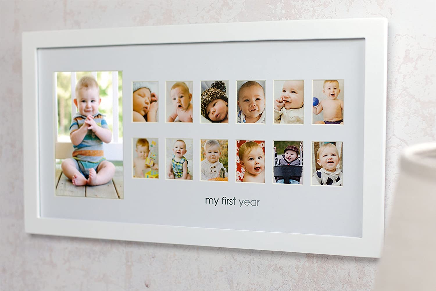 Pearhead Moments Keepsake My First Year Photo Frame, White: Amazon ...