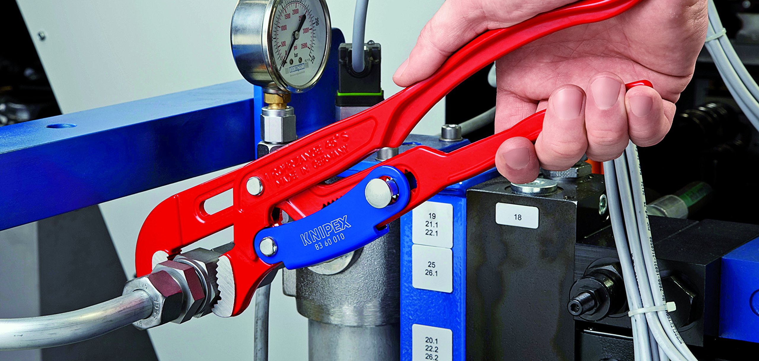 Knipex 83 60 010 Pipe Wrench S-Type with rapid adjustment 1'' in red