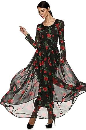 CRAVOG Druckkleid Damen Lang Kleid Elegant Langarm Rose Maxikleid  Abendkleid Cocktailkleid Partykleid