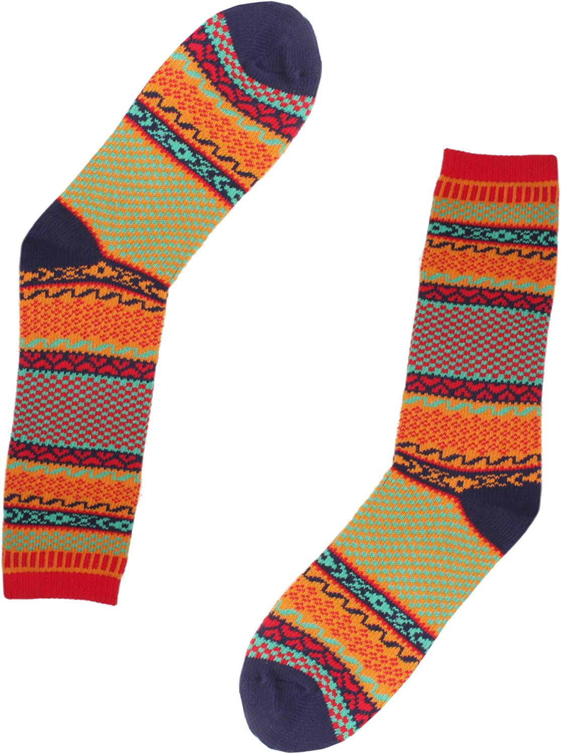 Womens Vintage Style Knitted Colorful Cotton Crew Socks