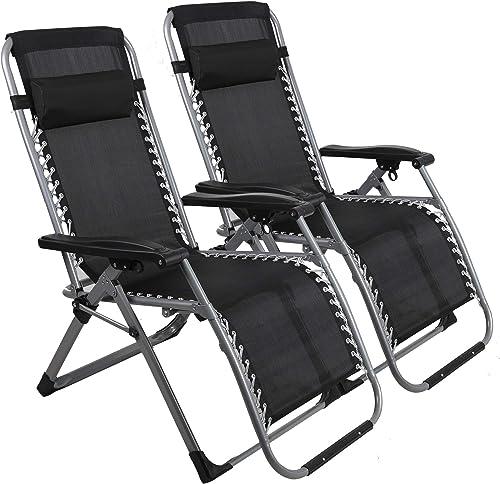 LUCKYERMORE Folding Zero Gravity Chair 2 Pack