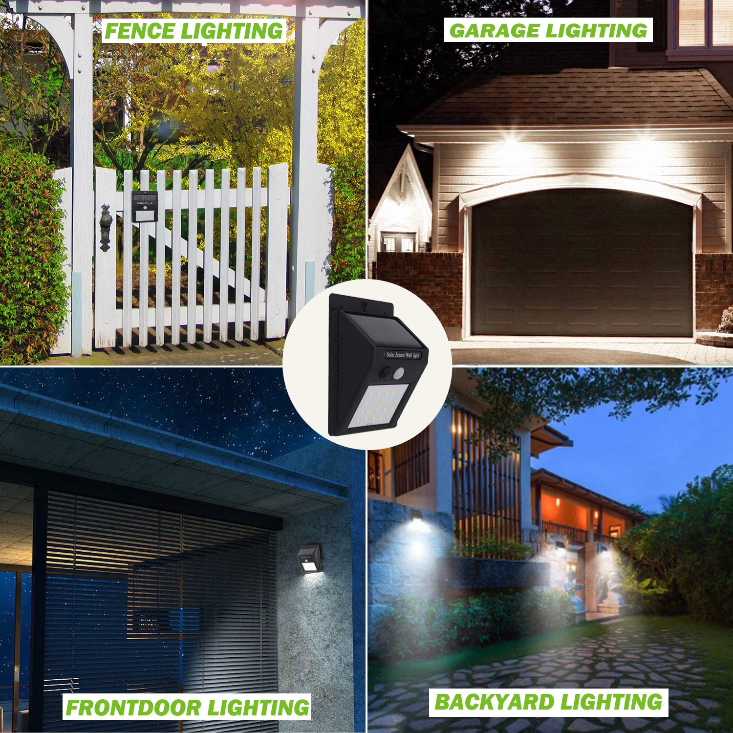 LED Solar Lights, Motion Sensor Wall Lights Security Light with 120°Wide Beam for Garden, Yard, Garage, Patio, Front Door, Outdoor (4 Pack)