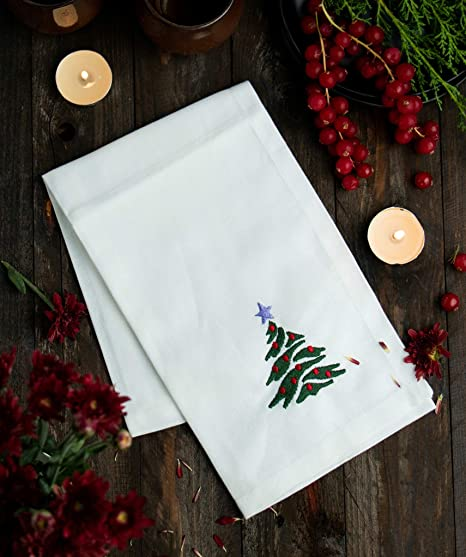 Embroidered Christmas Wreath LinenCotton White Hemstitched Dinner Napkins--#1094