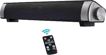 Buen Sonido, Barra de Sonido de TV, Altavoz PC de Sonido USB, Altavoz Bluetooth con Cable e inalámbrico Altavoz, teléfono Celular, Sonido Fuerte, TV, Soporte RCA/AUX/Bluetooth, con Control Remoto: Amazon.es: Electrónica