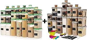 ULTIMATE LARGEST Set of 56 Pc Food Storage Containers (28 Container Set) Green and LARGEST Set of 52 Pc Food Storage Containers (26 Container Set)