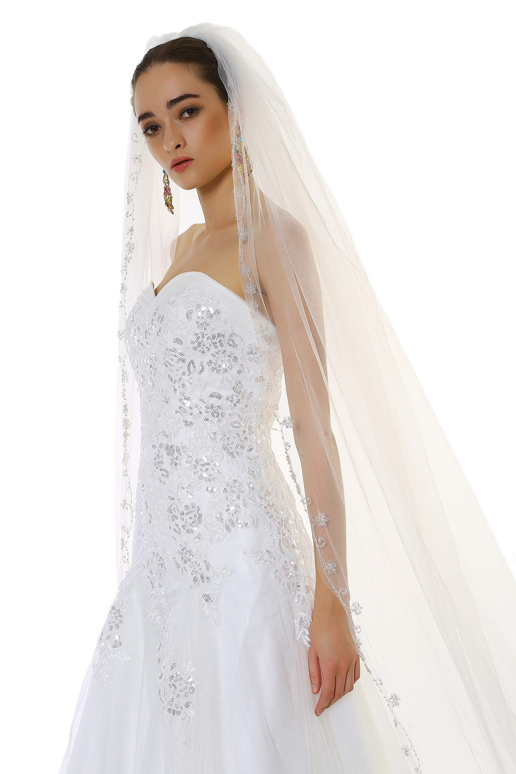 Passat Champagne 1 Tier 2M Floral Beaded Scallop Edge Cathedral Bridal Veil wedding veils with crystal 224