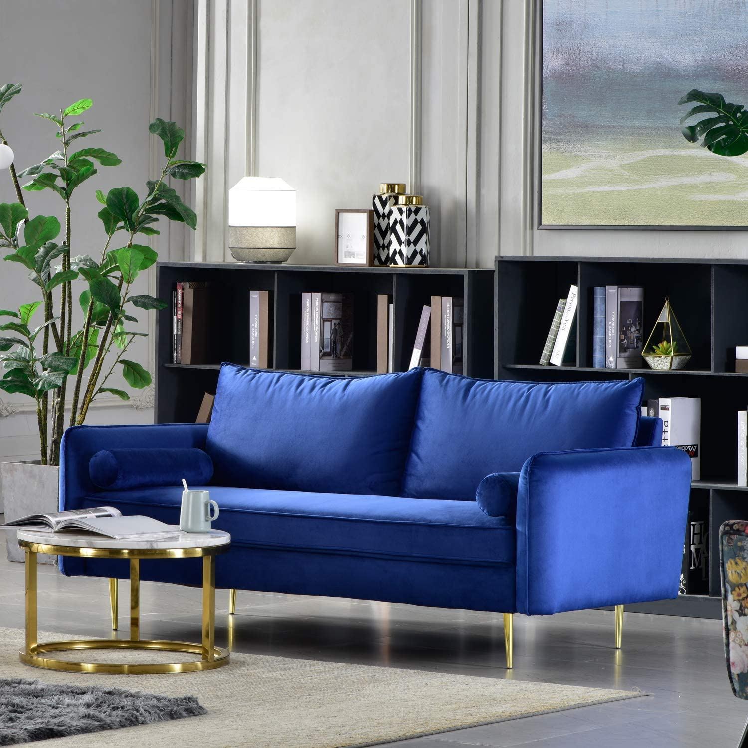 Ovios High Back Couch,Mid-Centry Spring Upholstered Sofa,3 inch Velvet  Fabric Futon with Metal Golden Leg for Living Room or Bedroom. (Blue-Gold
