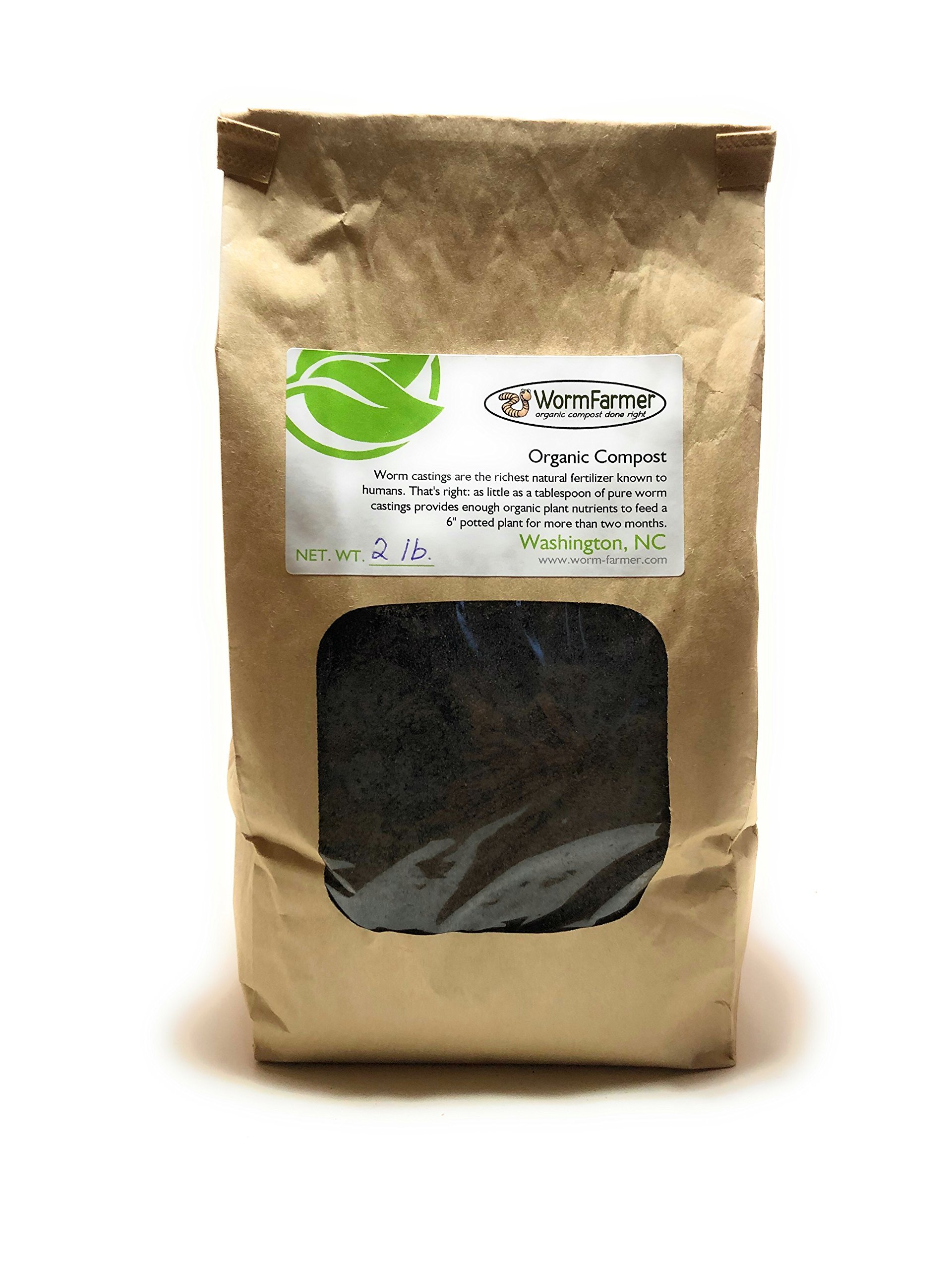 Worm Farmer Organic Compost Worm Castings Vermicompost 2 lb. Great for Plants Flowers Vegetables Gardens