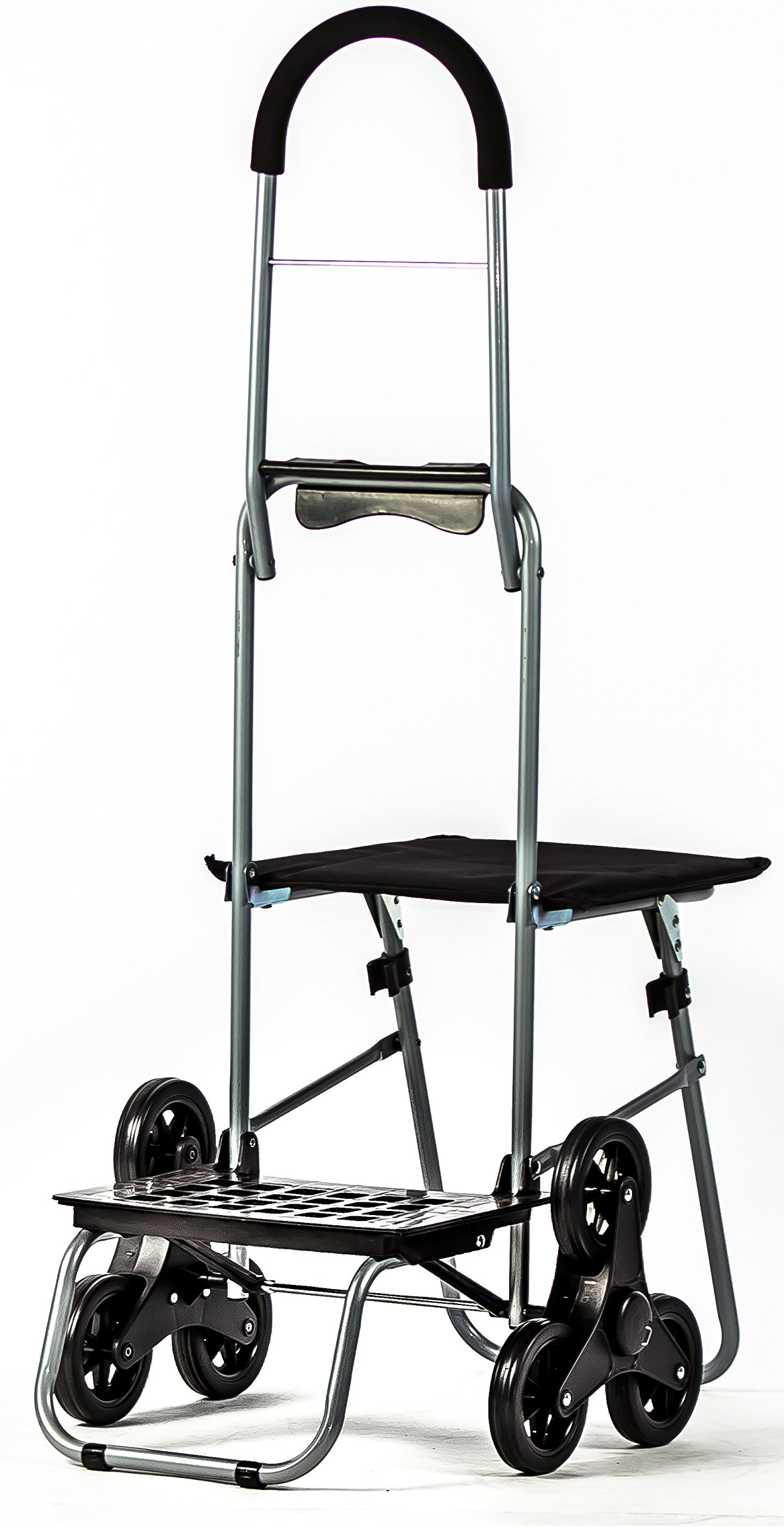 dbest products Stair Climber Mighty Max with Seat Personal Dolly, Black Handtruck Hardware Garden Utilty Cart