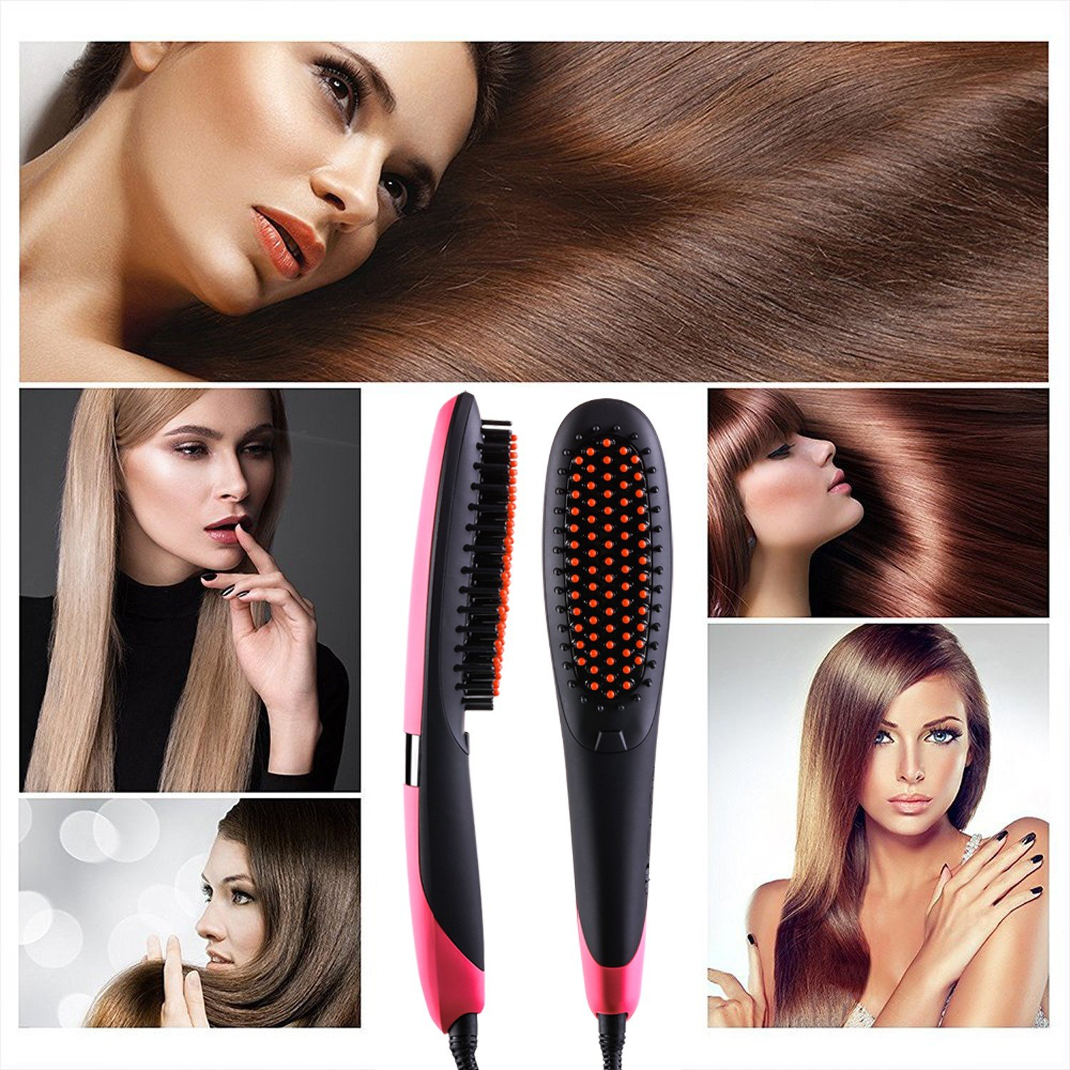 Hair Straightener Brush, INMISS Electric Ionic Ceramic Hair Straightening Brush with Auto Shut Off Temperature Lock Function - Pink