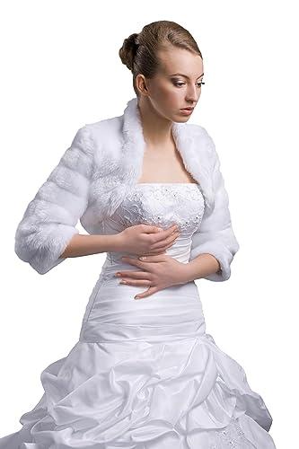 Bolero Chaqueta para vestido de novia novia Visón de chaqueta–E42
