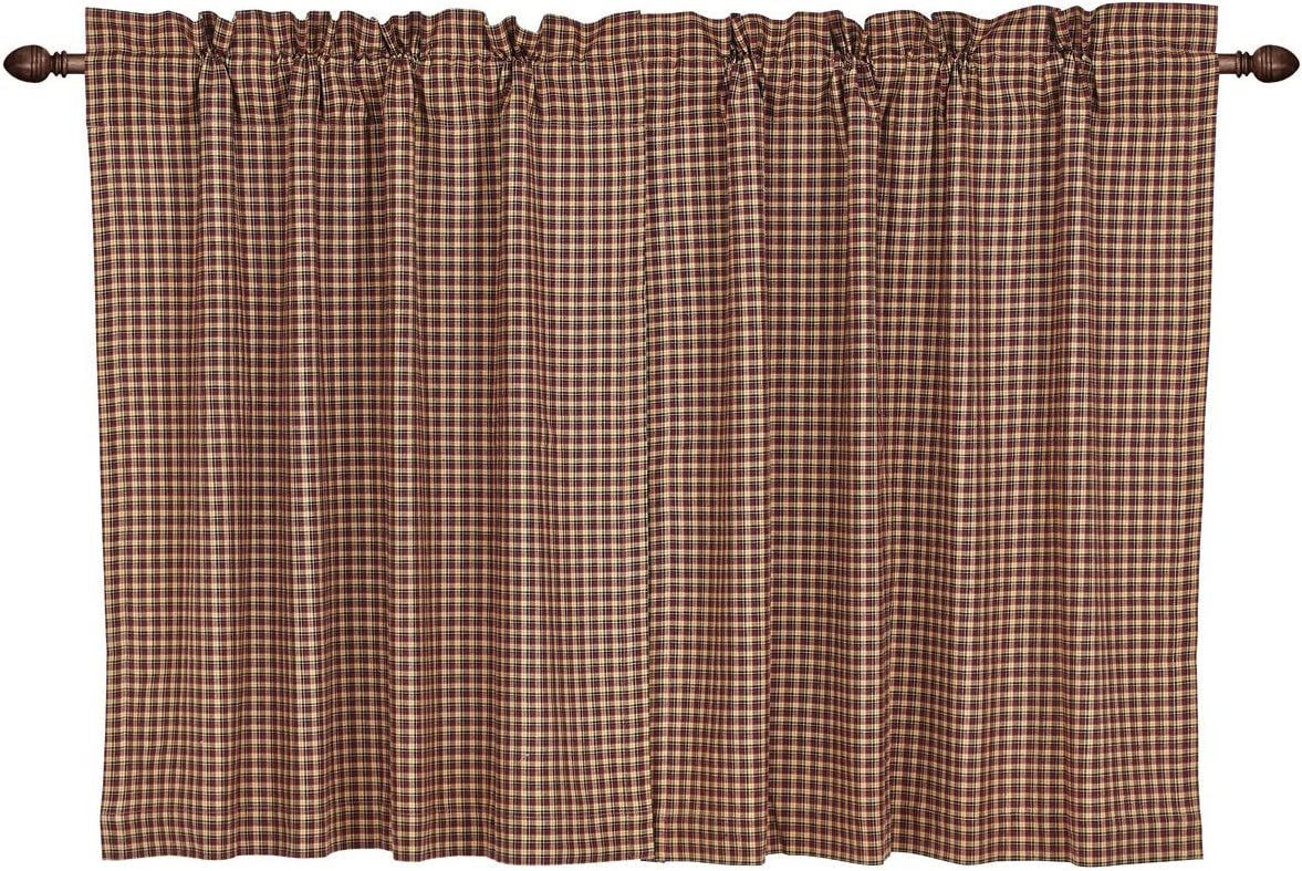 VHC Brands Americana Primitive Kitchen Window Curtains-Patriotic Patch Red Plaid Tier Pair, L36 x W36