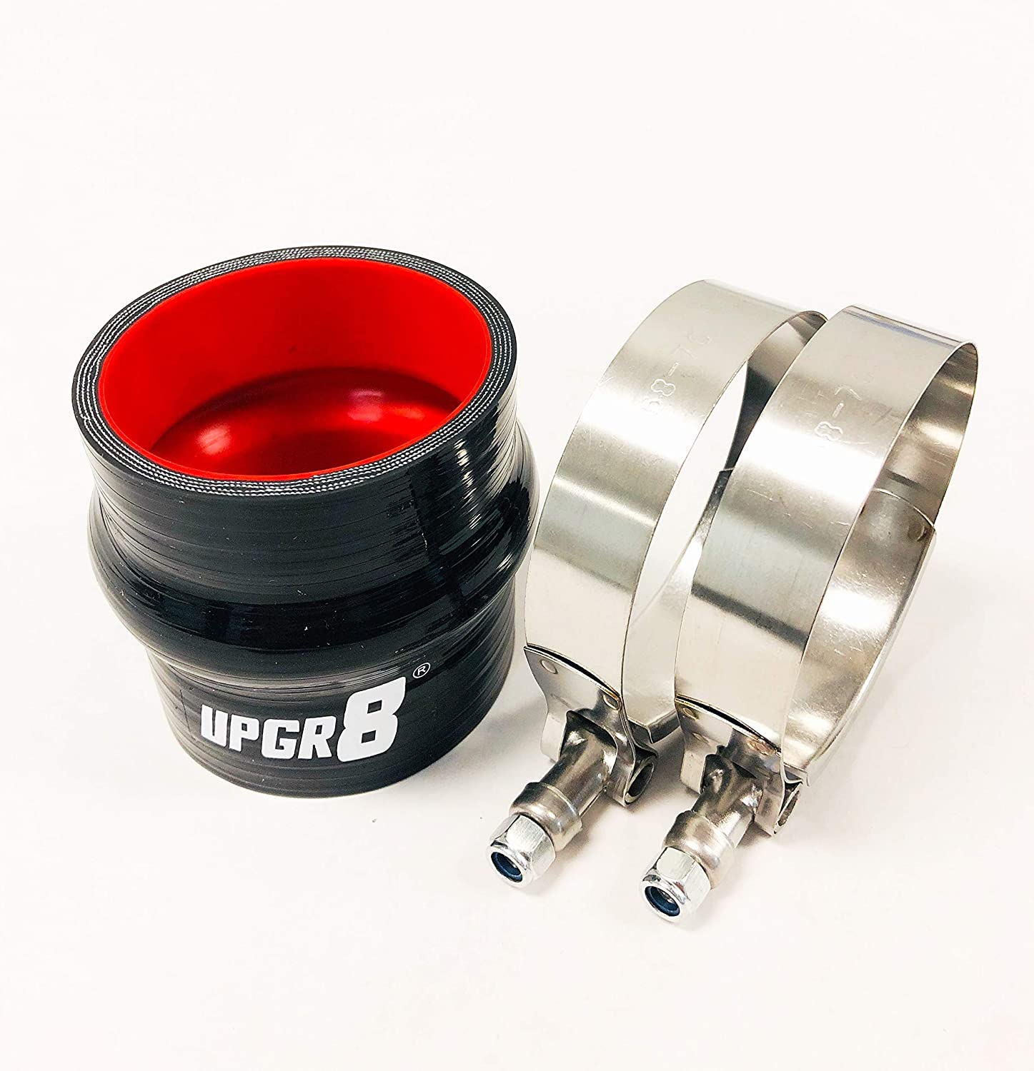 Upgr8 Universal 4-Ply High Performance 2.25 Straight Hump Coupler Silicone Hose 57mm T Bolt Clamp 2.25 Red